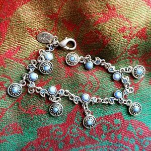 Premier Designs blue silver charm bracelet dainty